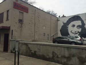 The Anne Frank mural is a newer addition to New Haven's historic gay bar.